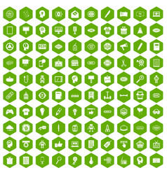 100 creative marketing icons hexagon green vector