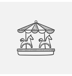 Merry-go-round sketch icon vector
