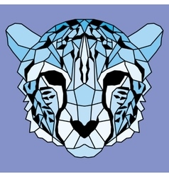 Blue low poly lined cheetah vector