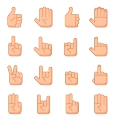 Hand gestures flat signs vector image