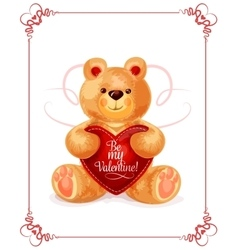 Bear toy with heart for Valentine Day card design vector image