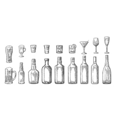 Set glass and bottle beer whiskey wine gin rum vector