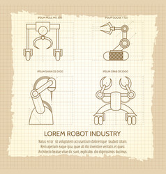 Vintage poster of robotic armed machines vector