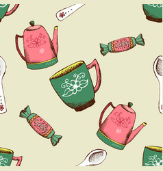 vintage pattern with kettle cup and candy vector image