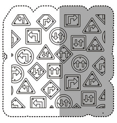 sticker silhouette pattern road traffic sign with vector image