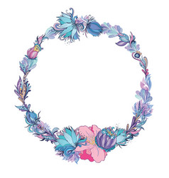 floral frame in indigo and pink vector image
