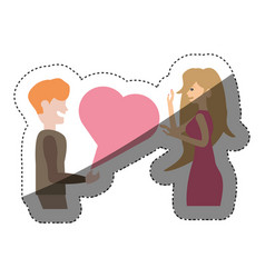 couple talking love relation shadow vector image