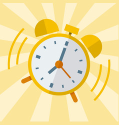 Wake up alarm clock flat design vector