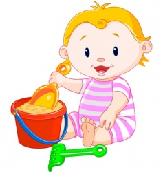 Summer girl playing with bucket vector