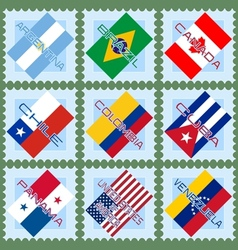 Flags of the countries of south and north america vector