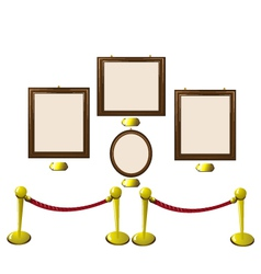 Empty wooden frames in a museum vector
