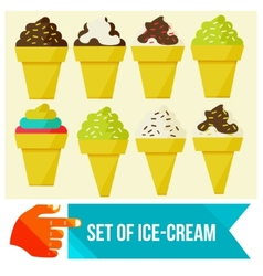 Set of ice cream in waffle cup vector