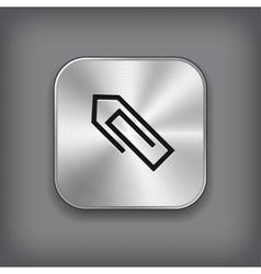 Paper clip icon - metal app button vector image