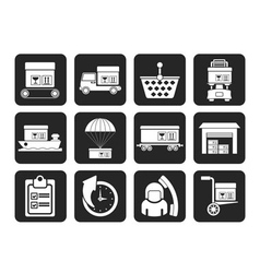 Silhouette logistic and shipping icons vector