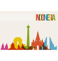 Travel indonesia destination landmarks skyline vector