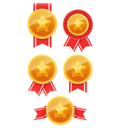 3d gold medal with star and red ribbon winner vector image