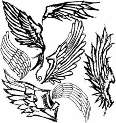 Hand-drawn wings vector