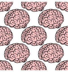 Pink human brain seamless pattern vector