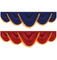 Blue and red curtains vector