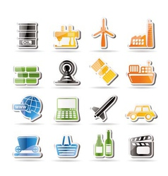 simple business and industry icons vector image