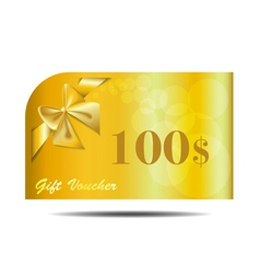 Gift voucher gold card with ribbon and bow vector