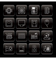 Line computer performance and equipment icons vector