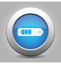 Blue metal button with battery medium vector