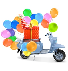 Scooter with gift and balloons vector