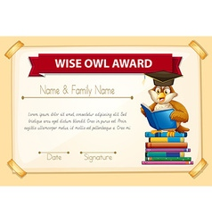 Certificate template with owl reading books vector