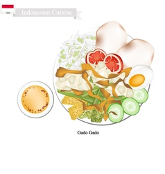 Gado gado or indonesian salad with peanut sauce vector