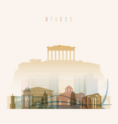 athens skyline detailed silhouette vector image