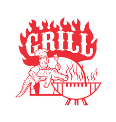 bbq chef carry gator grill retro vector image vector image