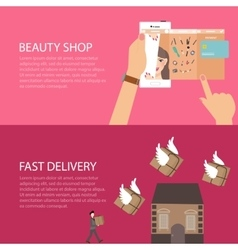 Beauty online shop make-up from gadget phone fast vector