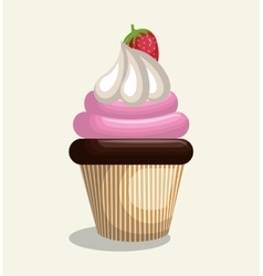 Birthday cupcake sweet party vector
