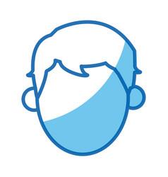 Blue outline head no face man vector