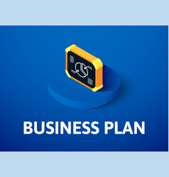Business plan isometric icon isolated on color vector