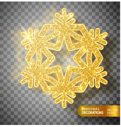 Christmas decoration gold snowflake on a vector