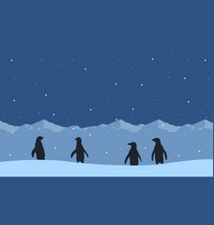 collection of penguin on snow hill scenery vector image vector image