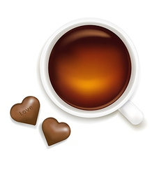 Cup of tea with chocolate vector