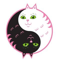 Cute cats yin yang vector image vector image