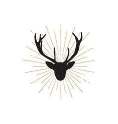 Deer shape with sunbursts silhouette animal vector