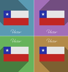 Flags Chile Set of colors flat design and long vector image