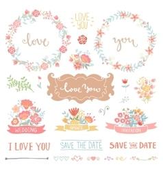 Floral vintage set vector image vector image
