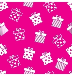 Gift boxes pink seamless pattern vector