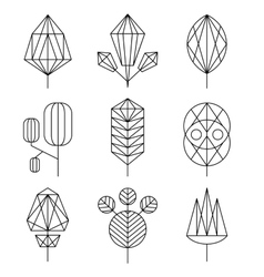 Graphical tree set hipster linear style vector image vector image