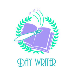 Greeting card day writer blue vector