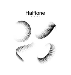 halftone 3d twisted shapes vector image