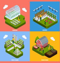 hydroponics concept icons set vector image