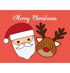 Kawaii santa and reindeer of christmas season vector