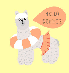 Lama with calligraphy hello summer in hand drawn vector